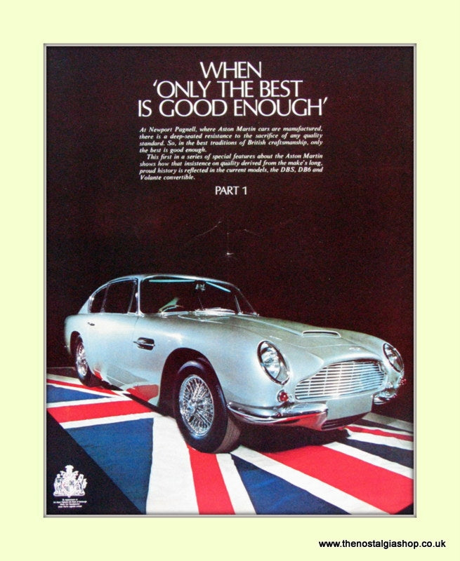 Aston Martin Original Advert 1968 (ref AD6690)