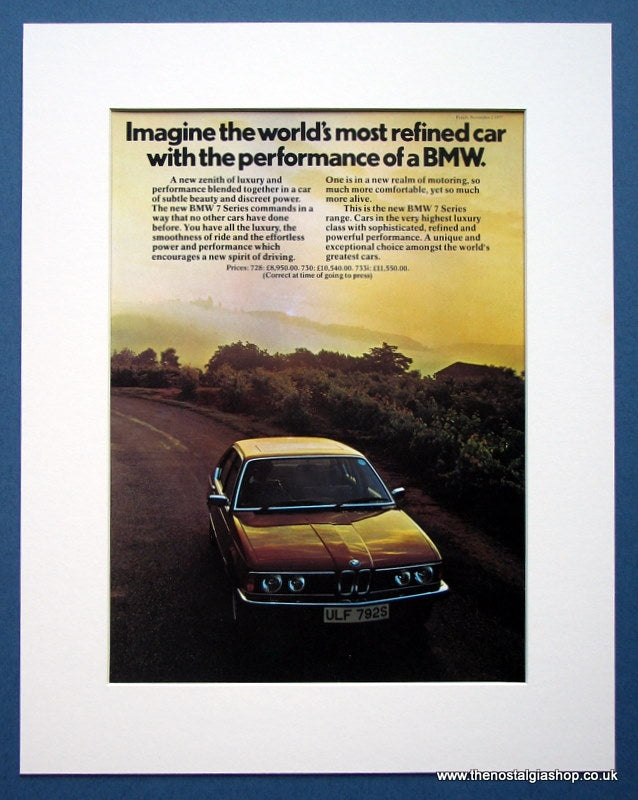 BMW 7 Series. Original advert 1977 (ref AD1408)