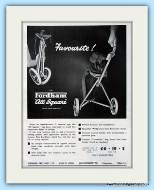 Fordham All Square Golf Trolley. Original Advert 1960 (ref AD4763)