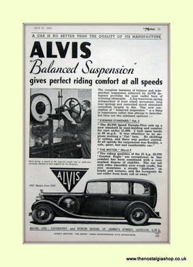Alvis Balanced Suspension Original Advert 1937 (ref AD6624)