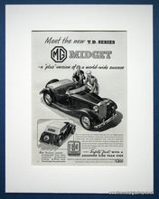 Load image into Gallery viewer, MG Midget TD Series. Set of 2 Original adverts 1950/53 (ref AD1360)
