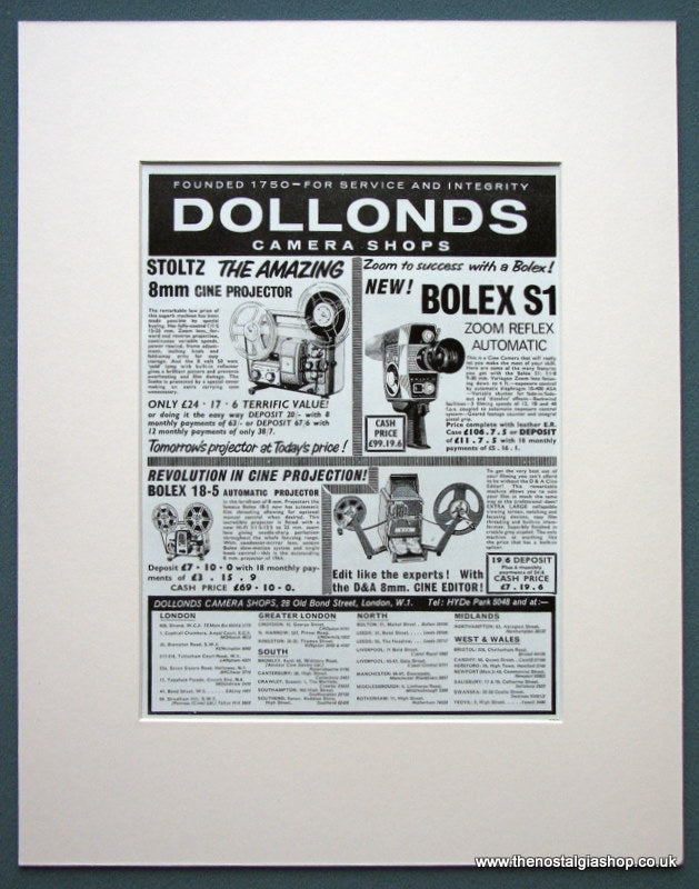 Dollonds Camera Shops 1964 Original Advert (ref AD1084)