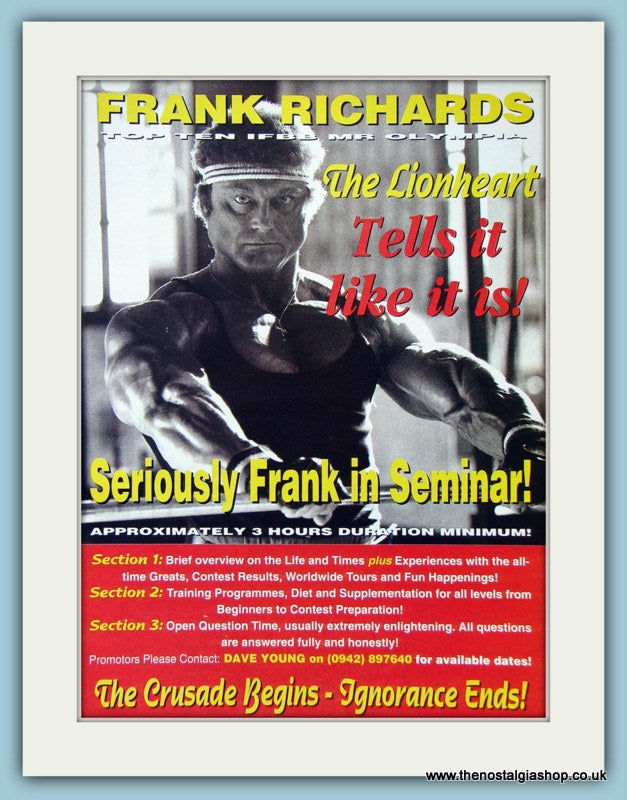 Frank Richards In Seminar Original Advert 1994 (ref AD3932)