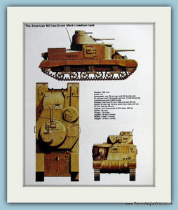 American M3 Lee/Grant Mark I Medium Tank Print (ref PR499)