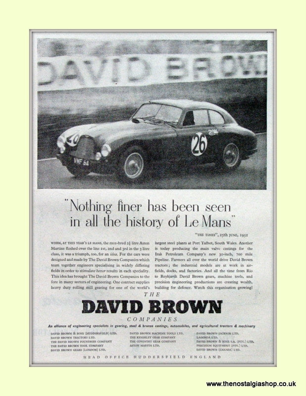 Aston Martin David Brown Le Mans Original Advert 1952 9ref AD6766)