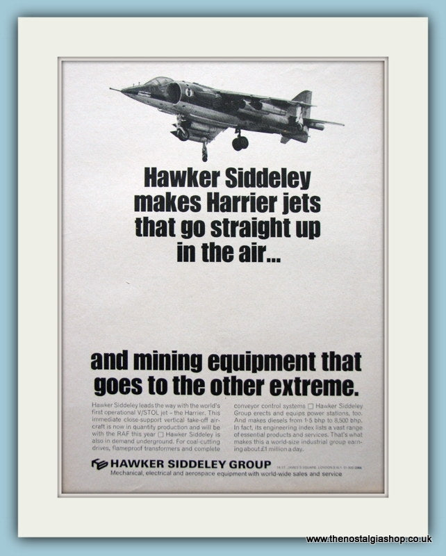 Hawker Siddeley Harrier Jets Set Of 2 Original Adverts 1968 (ref AD6284)