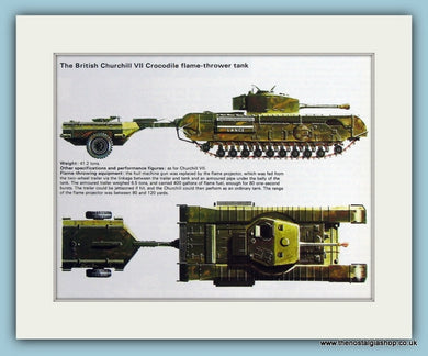 British Churchill VII Crocodile Flame-Thrower Tank. Print (ref PR487)