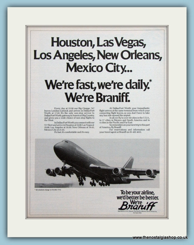Braniff Airline Original Advert 1980 (ref AD2161)