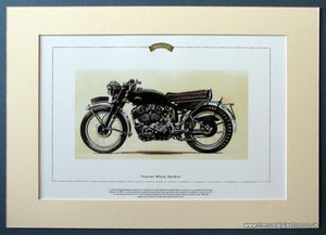 Vincent Black Shadow. Mounted Motorcycle Print. (ref PR3013)