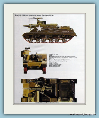 U.S. 105-mm Howitzer Motor Carriage M7B1. Print (ref PR490)
