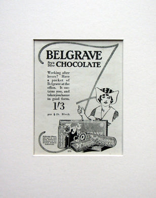 Belgrave Fry's New Chocolate. Original advert 1924 (ref AD1564)