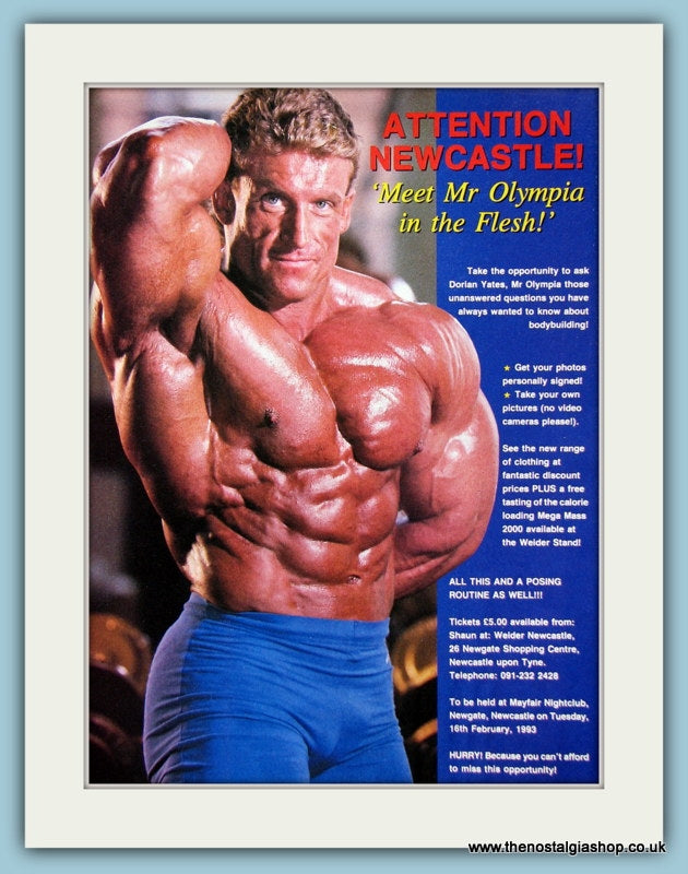 Dorian Yates Mr Olympia Newcastle Original Advert 1993 (ref AD3948)