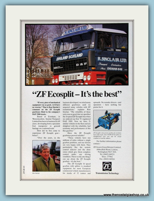 ZF Ecosplit Transmission Technology 1988 Original Advert (ref AD2942)