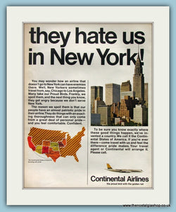 Continental Airlines. Oridinal Advert 1964 (ref AD8267)