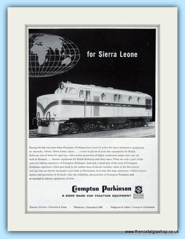 Crompton Parkinson Locomotive Equipment Original Advert 1957 (ref AD6497)