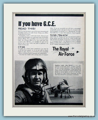 R.A.F Passed G.C.E Set Of 3 Original Adverts 1963 (ref AD6300)