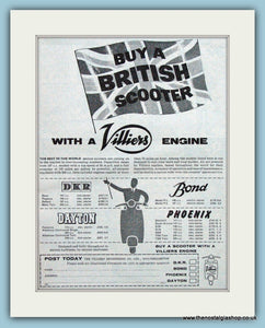British Scooters with Villiers Engines. 1959 Original Advert (ref AD4094)