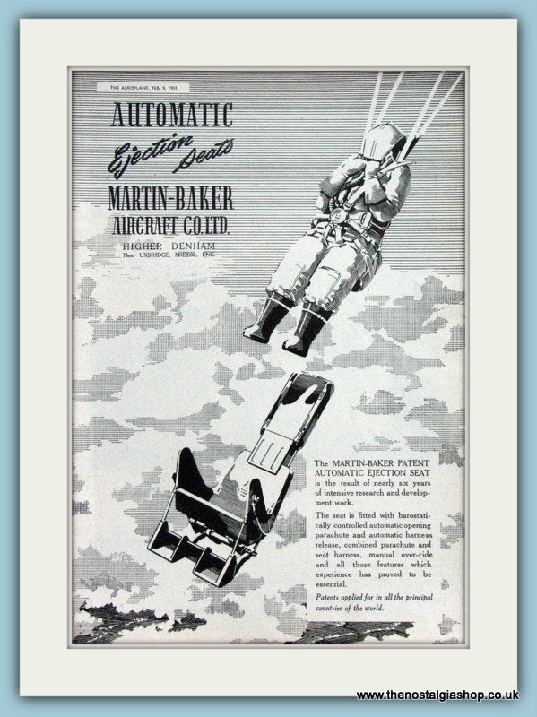 Martin Baker Auto Ejection Seats Original Advert 1951 (ref AD4268)