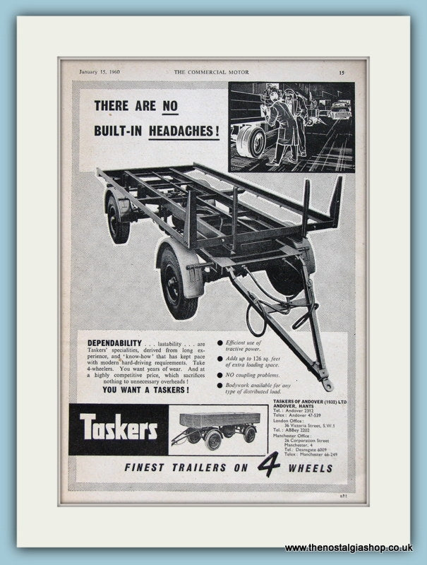 Taskers Four Wheel Trailers Original Advert 1960 (ref AD2978)