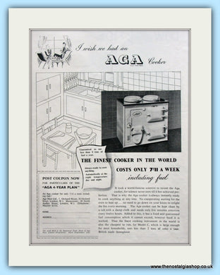 AGA Cooker. Original Advert 1939 (ref AD4758)