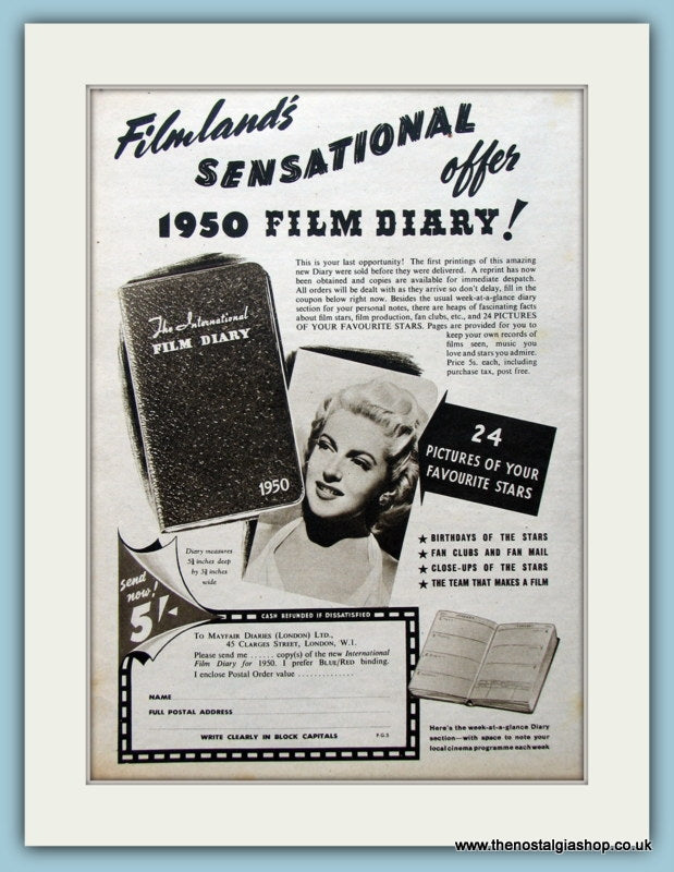 Film Diary Offer 1950 Original Advert (ref AD4524)