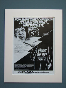 Friday the 13th Part 2 and Part 3  Set of 2 Original adverts (ref AD599)