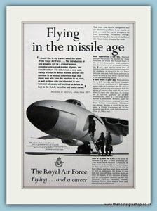R.A.F Flying And Career Original Advert 1958 (ref AD6271)