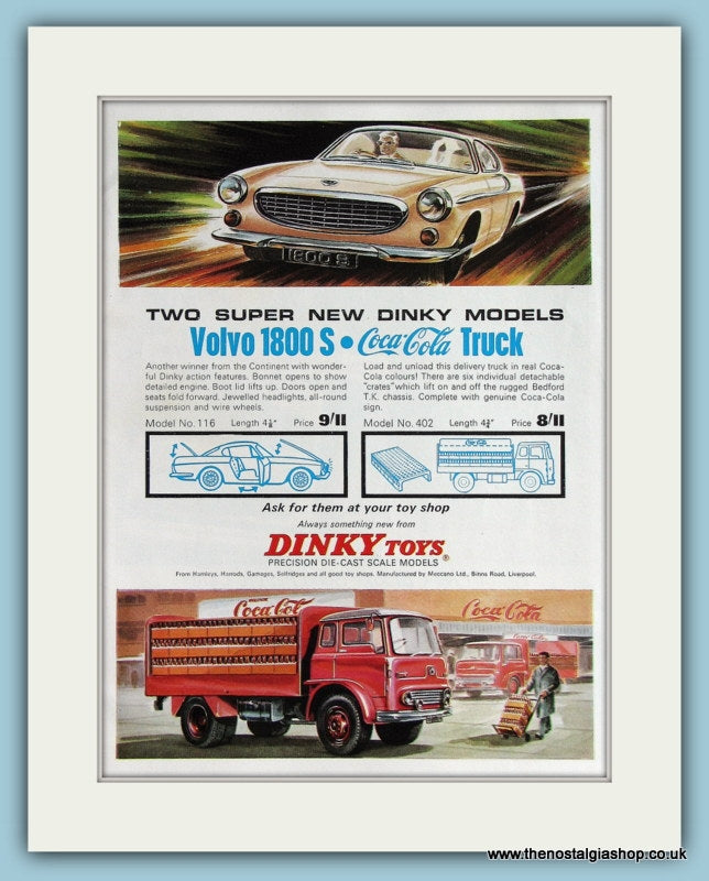 Dinky Toys Volvo 1800's And Truck 1966 Original Advert (ref AD2855)