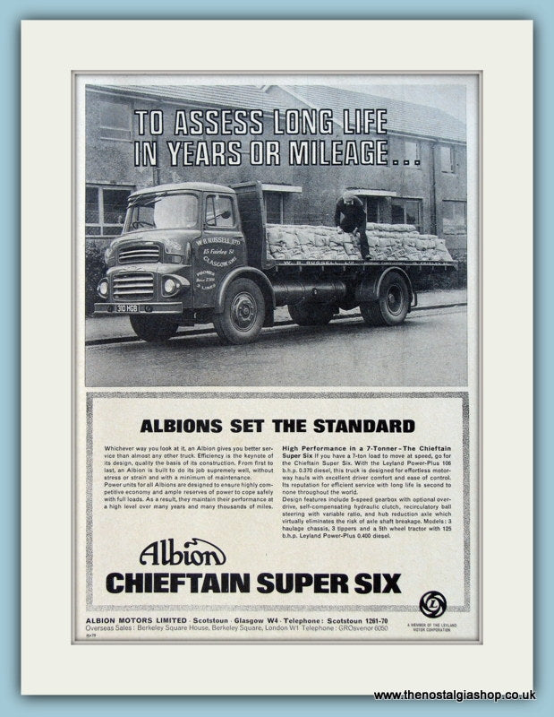 Albion Chieftain Super Six Truck Original Advert 1966 (ref AD2973)