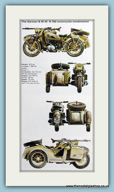 German B.M.W. R.750 Motorcycle Combination Print (ref PR459)
