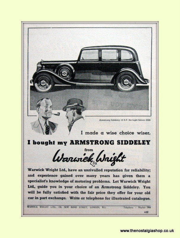 Armstrong Siddeley From Warwick Wright Original Advert 1937 (ref AD6666)
