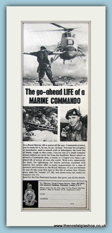 Royal Navy Marine Commando. Original Advert 1965 (ref AD6058)