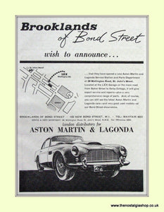 Aston Martin & Lagonda Brooklands Of Bond Street  Original Advert 1964 (ref AD6739)
