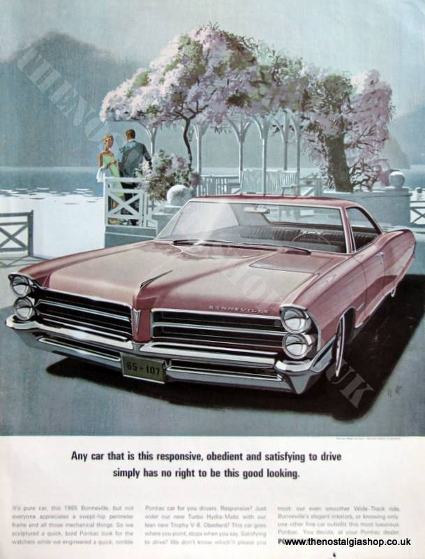 Pontiac Bonneville Original Advert 1965 (ref AD4065)
