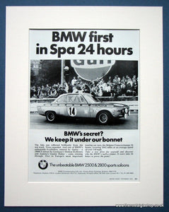 BMW 2800CS Wins in Spa 24 hour race. Original advert 1970 (ref AD1397)