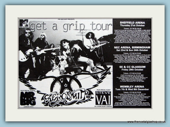 Aerosmith, Get A Grip Tour 1993 Original Advert (ref AD3118)