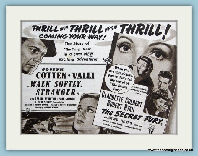 Walk Softly Stranger starring Joseph Cotton, 1951 Original Advert (ref AD3239)