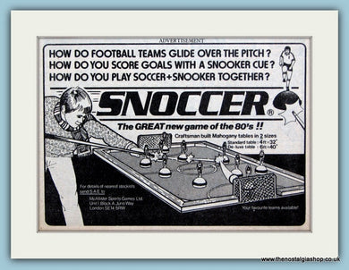 Snoccer Football Game Original Advert 1981 (ref AD6399)