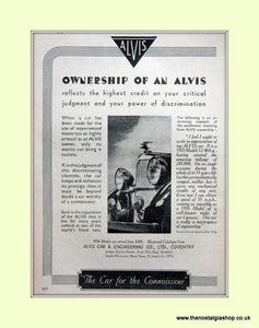 Alvis Cars Original Advert 1936 (ref AD6623)