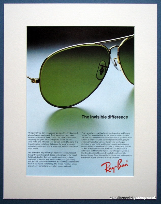 Ray-Ban Sunglasses 1975 Original Advert (ref AD957)
