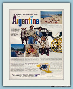 Argentina fly with Pan American. Original Advert 1947 (ref AD8253)