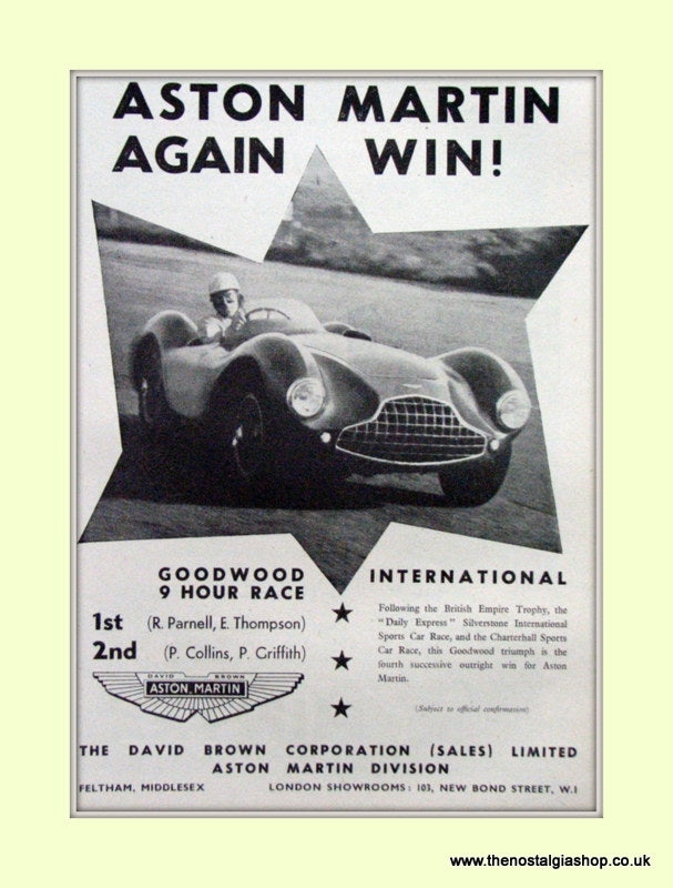 Aston Martin Goodwood Race Original Advert 1953 (ref AD6763)