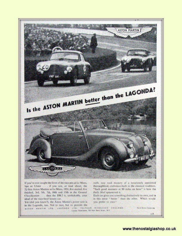 Aston Martin & Lagonda Original Advert 1952 (ref AD6717)