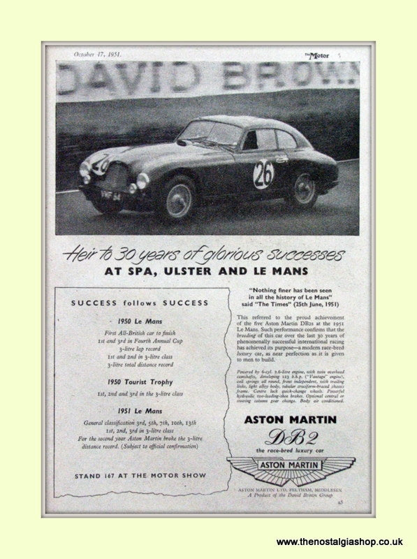 Aston Martin Spa Ulster And Le Mans Original Advert 1951 (ref AD6767)