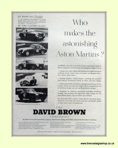 Aston Martin David Brown Company Original Advert 1952 (ref AD6710)