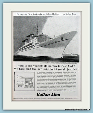 Italian Line Ship Original Advert 1965 (ref AD2308)