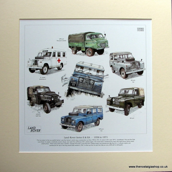 Land Rover Series II & IIA 1958 - 1971. Mounted Print (ref PR3004)