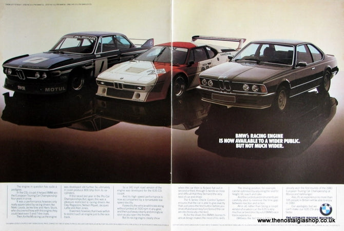 BMW CSL, BMW M1 & BMW 635 CSi Original Advert 1980 (ref AD 1649)