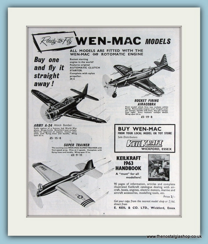 Wen-Mac Aircraft Models. Original Advert 1963 (ref AD2812)