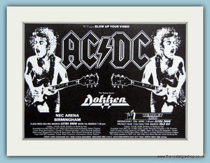 AC DC and Dokken 1988 Tour, Original Advert (ref AD3116)